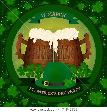 Saint Patrick's Day beer party invitation with two wooden beer mag, clover and green hat. Vector illustration.