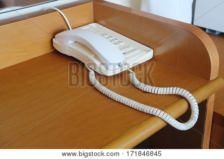 telephone stands on a table