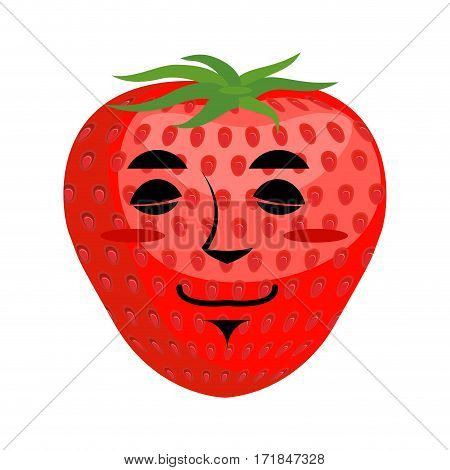 Strawberry Sleep Emoji. Red Berry Asleep Emotion Isolated
