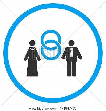 Marriage Persons rounded icon. Vector illustration style is flat iconic bicolor symbol inside circle blue and gray colors white background.