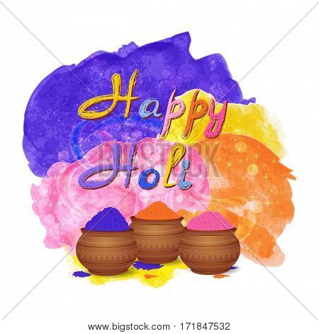 Happy holi celebration background with tradition mud pots, gulal colors powder, watercolor splashes. Vector illustration
