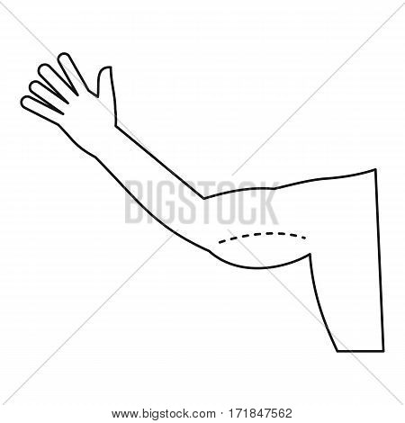Plastic surgery, flabby arm correction icon. Outline illustration of plastic surgery, flabby arm correction vector icon for web
