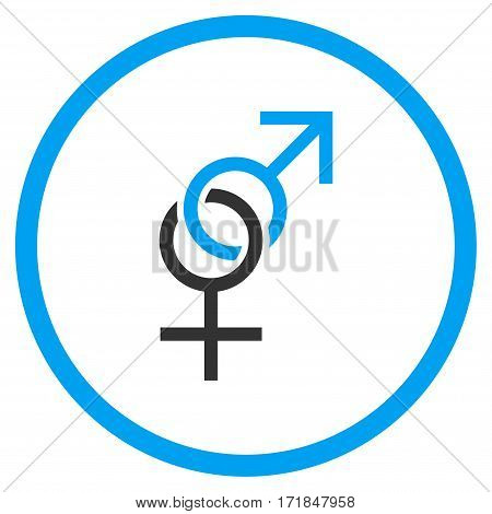 Sex Symbol rounded icon. Vector illustration style is flat iconic bicolor symbol inside circle blue and gray colors white background.