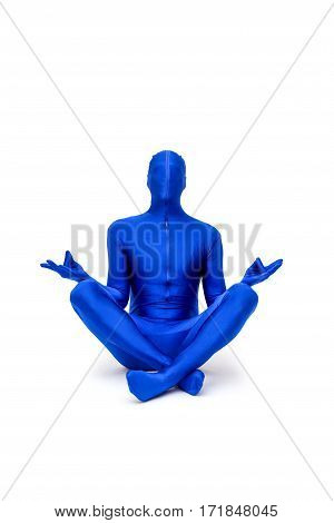 Mysterious Blue Man In Morphsuit Doing Yoga