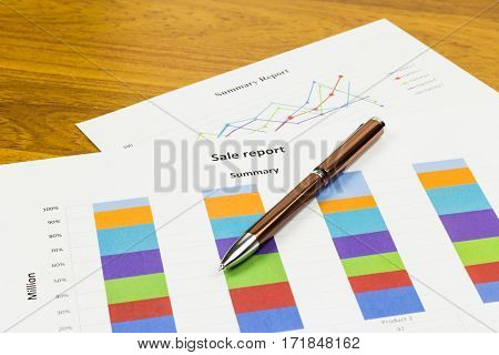 Sale Report Calculations savings finances and analysis of the market concept.