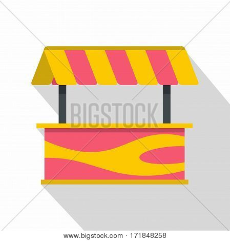 Street stall with striped awning icon. Flat illustration of street stall with striped awning vector icon for web isolated on white background