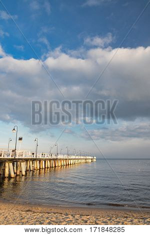 baltic sea and pier in gdynia orlowo in poland in the summertime, europe