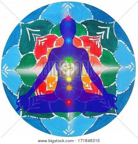 Lotus pose mandala. Padmasana with colored chakra points and OM symbol.