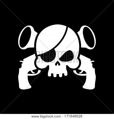 Pirate Flag Skull. Black Banner Filibuster. Head Skeleton Pirates Banner