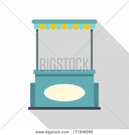 Blue shopping counter with tent icon. Flat illustration of blue shopping counter with tent vector icon for web isolated on white background