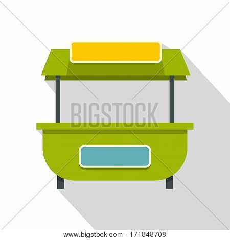 Green street kiosk icon. Flat illustration of green street kiosk vector icon for web isolated on white background