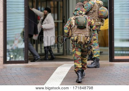 Belgian Soldiers Guard European Institutions Backs