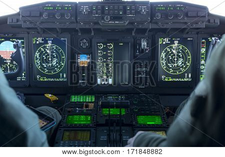 Military Carrier Airplane Cockpit
