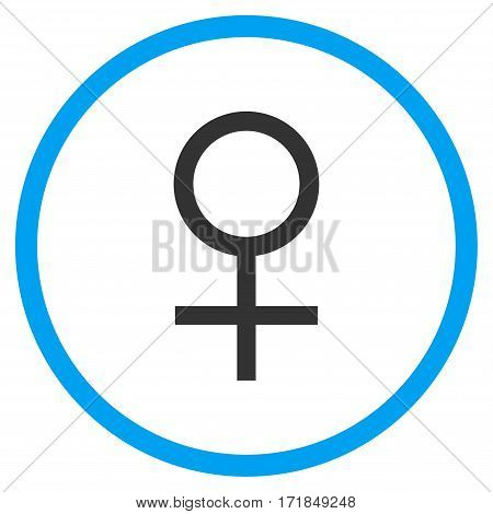 Venus Female Symbol rounded icon. Vector illustration style is flat iconic bicolor symbol inside circle blue and gray colors white background.