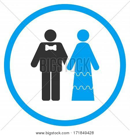 Wedding Persons rounded icon. Vector illustration style is flat iconic bicolor symbol inside circle blue and gray colors white background.
