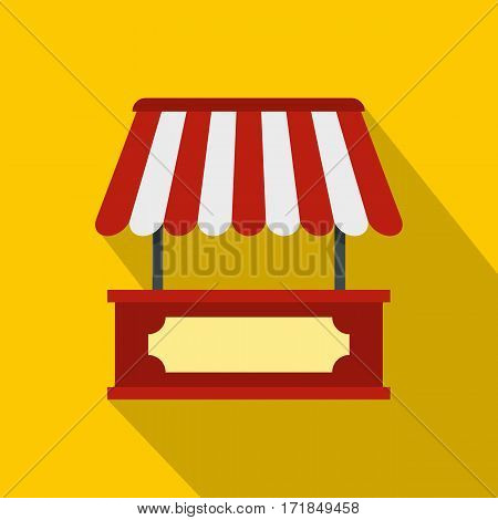 Market stall with red and white awning icon. Flat illustration of market stall with red and white awning vector icon for web isolated on yellow background