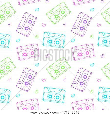 vector seamless pattern with audio cassettes and hearts