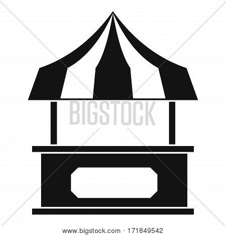 Store kiosk with striped awning icon. Simple illustration of store kiosk with striped awning vector icon for web