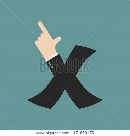 X Letter Businessman Hand Font. It Shows Finger Print. Arm Symbol Alphabet. Sign Of Abc