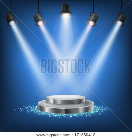 Set of scenic spotlights on a dark background with a podium