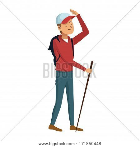 Man with a cap over white background. colorful design. vector illustration