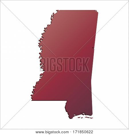 Autumn Gradient Mississippi (USA) State map with shadow
