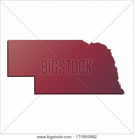 Autumn Gradient Nebraska (USA) State map with shadow