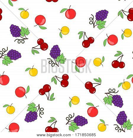Seamless pattern with fruits on a transparent background -the apples, grapes and cherries. Vector illustration