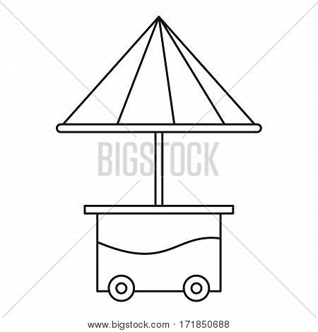 Cart with umbrella icon. Outline illustration of cart with umbrella vector icon for web