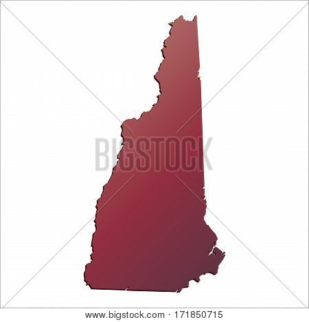 Autumn Gradient New Hampshire (USA) State map map with shadow