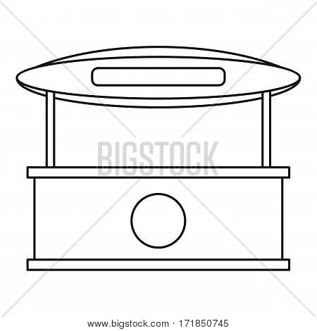 Store kiosk with awning icon. Outline illustration of store kiosk with awning vector icon for web