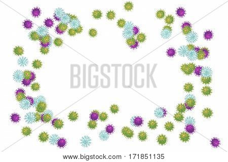 Set of viruses of different shapes isolated on white background with central free space for title and text, 3D illustration