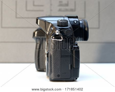PARIS FRANCE - FEB 13 2017: Detail of the Panasonic Lumix DMC-GH4 - Micro Four Thirds System digital still and video camera originally released in May 2014. At the time of its release the GH4 was notable for being the world's first Mirrorless interchangea