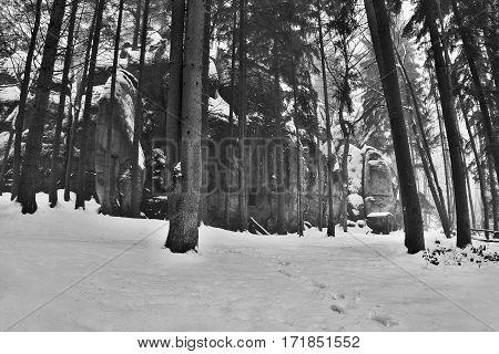 Mysterious Rock Formation In Peklo Valley In Snowy Winter Machuv Kraj Region In Czech Republic
