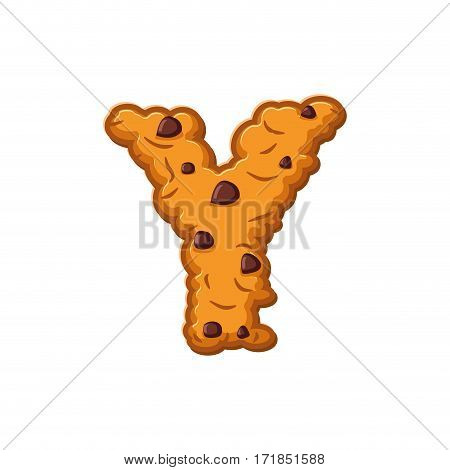 Y Letter Cookies. Cookie Font. Oatmeal Biscuit Alphabet Symbol. Food Sign Abc