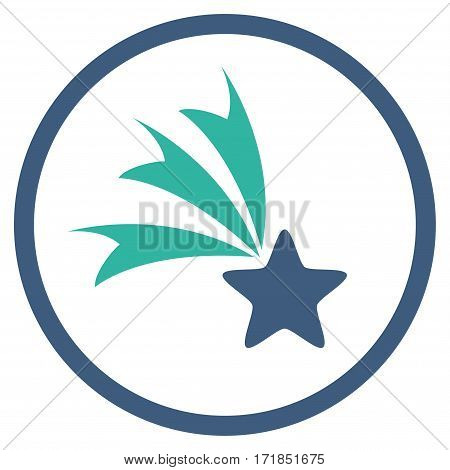 Falling Star rounded icon. Vector illustration style is flat iconic bicolor symbol inside circle cobalt and cyan colors white background.