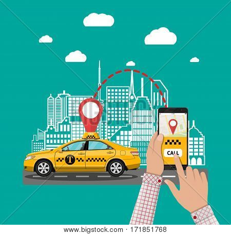 Urban cityscape with taxi cab, hand with smartphone and taxi service application. Vector illustration in flat style