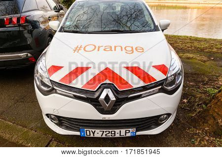 STRASBOURG FRANCE - FEB 2 2017: Renault car with Orange Telecom Mobile logotype parked in city