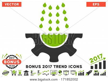 Eco Green And Gray Water Shower Service Gear pictogram with bonus 2017 trend clip art. Vector illustration style is flat iconic bicolor symbols white background.