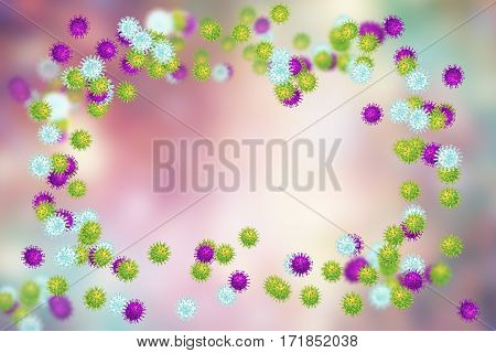 Set of viruses of different shapes with central free space for title and text, 3D illustration