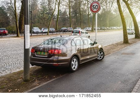 STRASBOURG FRANCE - FEB 2 2017: Volkswagen Jetta with diplomatic plates parked in no parking unauthorized zone prohibited restriced zone