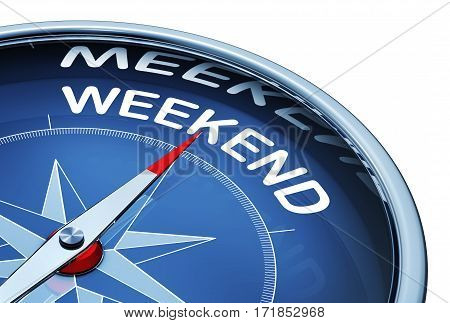 3D rendering of a compass with a weekend icon
