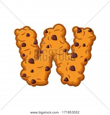 W Letter Cookies. Cookie Font. Oatmeal Biscuit Alphabet Symbol. Food Sign Abc