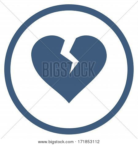 Heart Break rounded icon. Vector illustration style is flat iconic bicolor symbol inside circle cobalt and cyan colors white background.