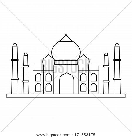 Taj mahal icon. Outline illustration of taj mahal vector icon for web