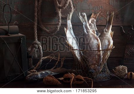 Still Life With Dried Fish In The Old Interior