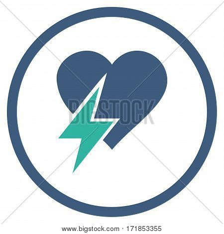 Heart Shock rounded icon. Vector illustration style is flat iconic bicolor symbol inside circle cobalt and cyan colors white background.