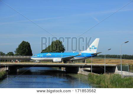 Amsterdam the Netherlands - June 9th 2016:PH-BGR KLM Royal Dutch Airlines Boeing 737 taxiing to Polderbaan runway Schiphol destination Paris France
