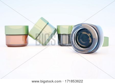 Cosmetic jars of clay isolated on a light background. One jar is open. 3D illustration