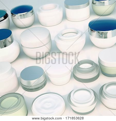Lines of jars of skin care. The view from the top. 3D illustration